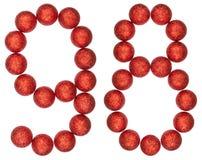 Número 98, noventa y ocho, de las bolas decorativas, aisladas en whi Imagenes de archivo