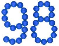 Número 98, noventa y ocho, de las bolas decorativas, aisladas en whi Foto de archivo