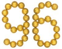 Número 96, noventa y seis, de las bolas decorativas, aisladas en blanco Foto de archivo