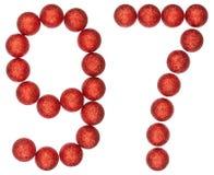 Número 97, noventa y siete, de las bolas decorativas, aisladas en whi Fotografía de archivo