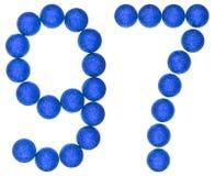 Número 97, noventa y siete, de las bolas decorativas, aisladas en whi Fotos de archivo