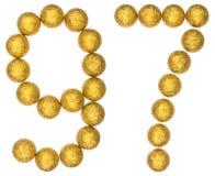 Número 97, noventa y siete, de las bolas decorativas, aisladas en whi Fotos de archivo libres de regalías