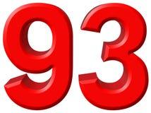 Número 93, noventa y tres, aislado en el fondo blanco, rende 3d Imagen de archivo libre de regalías
