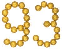 Número 93, noventa y tres, de las bolas decorativas, aisladas en wh Fotos de archivo libres de regalías