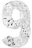 Número nueve Zentangle Objeto decorativo del vector Stock de ilustración