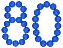 Número 80, ochenta, de las bolas decorativas, aisladas en el CCB blanco Imagen de archivo libre de regalías