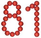 Número 81, ochenta uno, de las bolas decorativas, aisladas en blanco Fotos de archivo