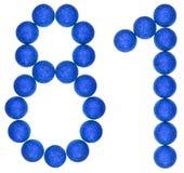 Número 81, ochenta uno, de las bolas decorativas, aisladas en blanco Imágenes de archivo libres de regalías