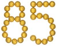 Número 85, ochenta y cinco, de las bolas decorativas, aisladas en pizca Imagenes de archivo