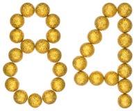 Número 84, ochenta y cuatro, de las bolas decorativas, aisladas en pizca Fotografía de archivo