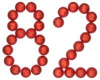 Número 82, ochenta y dos, de las bolas decorativas, aisladas en blanco Foto de archivo libre de regalías