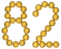 Número 82, ochenta y dos, de las bolas decorativas, aisladas en blanco Fotografía de archivo