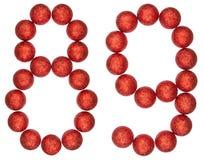 Número 89, ochenta y nueve, de las bolas decorativas, aisladas en pizca Fotografía de archivo