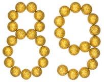 Número 89, ochenta y nueve, de las bolas decorativas, aisladas en pizca Fotos de archivo libres de regalías
