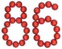 Número 86, ochenta y seis, de las bolas decorativas, aisladas en blanco Fotos de archivo libres de regalías