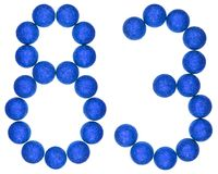 Número 83, ochenta y tres, de las bolas decorativas, aisladas en whi Fotografía de archivo