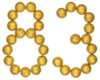 Número 83, ochenta y tres, de las bolas decorativas, aisladas en whi Foto de archivo libre de regalías