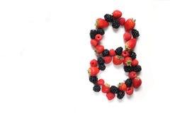 Número oito com frutas Foto de Stock Royalty Free
