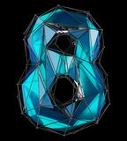 Número 8 oito na cor azul do baixo estilo poli isolada no fundo preto 3d Fotografia de Stock Royalty Free
