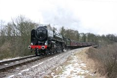 Número 70013 Oliver Cromwell de la locomotora de vapor en Mytholmes en el th Fotos de archivo libres de regalías