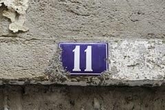 Número once en la calle Foto de archivo