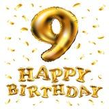 Número original nove do vetor; alfabeto de 9 letras feito do balão realístico do hélio do ouro 3d Ilustração da coleção do número Imagens de Stock