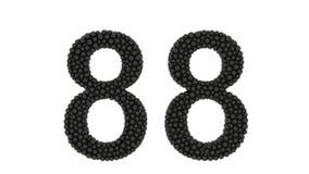 Número parcialmente formado 88 de bolas pretas pequenas