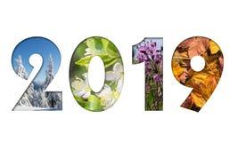 Número 2019 a partir de cuatro fotos de las estaciones imagen de archivo libre de regalías