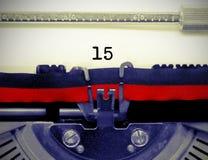 Número 15 pela máquina de escrever velha no Livro Branco Foto de Stock Royalty Free