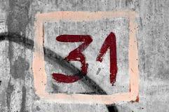 Número pintado à mão 31 Fotografia de Stock