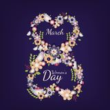 Número plano 8 del vector con las flores Día internacional de las mujeres s stock de ilustración