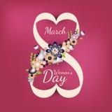 Número plano 8 del vector con las flores Día internacional de las mujeres s ilustración del vector