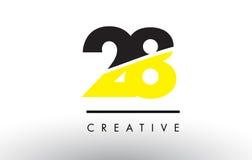28 número preto e amarelo Logo Design Fotografia de Stock Royalty Free