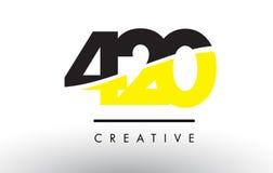 420 número preto e amarelo Logo Design Imagem de Stock Royalty Free