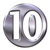 Número quadro 10 da prata Foto de Stock Royalty Free
