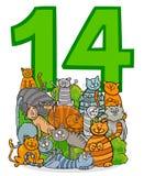 Número quatorze e grupo dos gatos dos desenhos animados ilustração royalty free