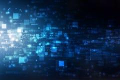 Número que fluye uno y texto cero en formato del código binario en fondo de la tecnología stock de ilustración