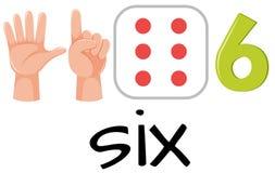 Número seis con imágenes ilustración del vector
