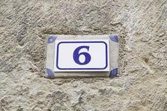 Número seis de información Imagen de archivo libre de regalías