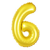 Número 6 seis dos balões dourados Foto de Stock Royalty Free