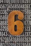 Número seis - sumário numérico Imagens de Stock