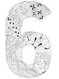Número seis Zentangle Objeto decorativo del vector Libre Illustration