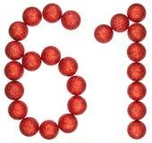 Número 61, sesenta uno, de las bolas decorativas, aisladas en blanco Imágenes de archivo libres de regalías