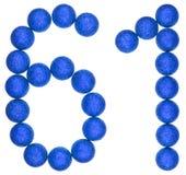 Número 61, sesenta uno, de las bolas decorativas, aisladas en blanco Foto de archivo libre de regalías