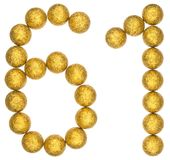 Número 61, sesenta uno, de las bolas decorativas, aisladas en blanco Fotografía de archivo