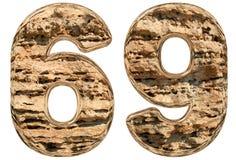 Número 69, sesenta y nueve, en blanco, piedra caliza natural, 3d Imagen de archivo libre de regalías