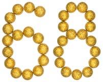 Número 68, sesenta y ocho, de las bolas decorativas, aisladas en pizca Fotos de archivo