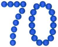 Número 70, setenta, de las bolas decorativas, aisladas en los vagos blancos Fotos de archivo