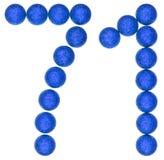 Número 71, setenta uno, de las bolas decorativas, aisladas en pizca Imágenes de archivo libres de regalías