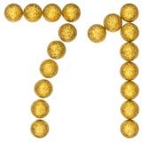 Número 71, setenta uno, de las bolas decorativas, aisladas en pizca Foto de archivo libre de regalías